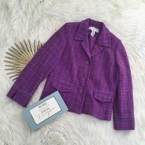 Sag Harbor  Purple Tweed Blazer Lined Velvet Trim